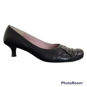 Nine West Black Leather Kitten Heel Shoes
